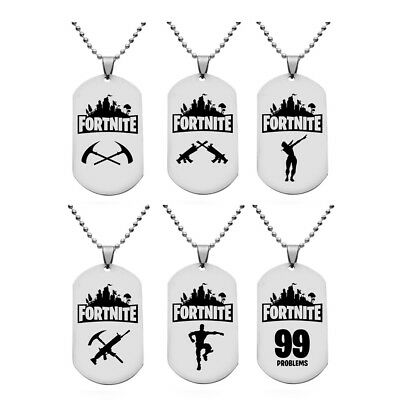Game Fortnite Battle Royale Necklace Pendant Silver Metal Key Chain Key Ring