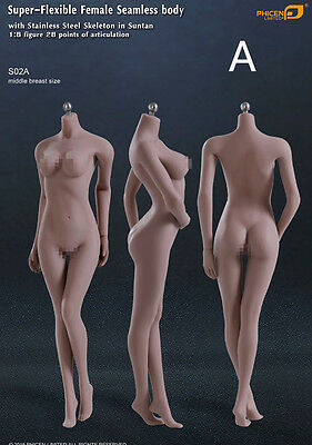 1/6 Phicen S02A Flexible Female Seamless body middle Breast Stainless steel Skel