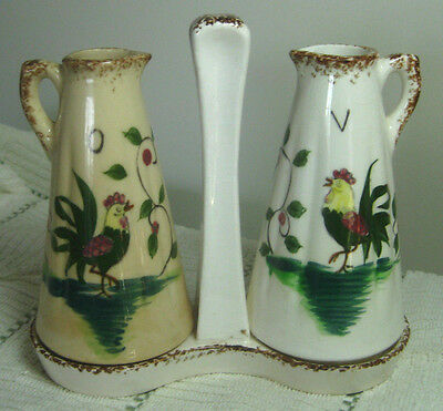 Vintage 1950s Napco Oil & Vinegar Cruets with Tray, Hand-Painted Roosters, SD108