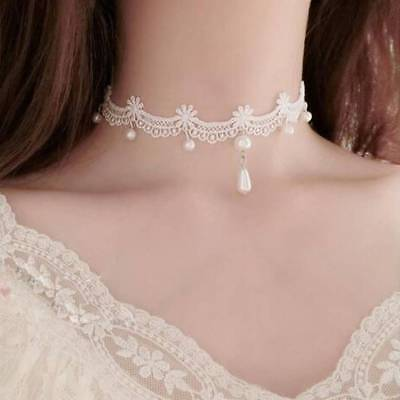 Fashion White Lace Pearl Choker Women Gothic Collar Bride Necklace Jewelry