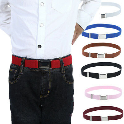 Adjustable Boy Kids Buckle Belt Elastic Children Silver Buckle Belts