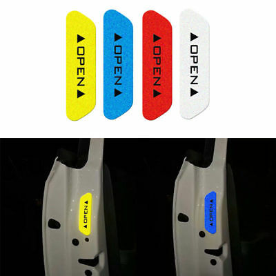 Universal 4Pcs Safety Reflective Tape Open Sign Warning Mark Car Door Stickers