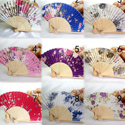 Vintage Bamboo Folding Hand Held Flower Fan Chinese Dance Party Wedding Pocket