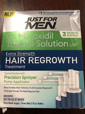 New Just For Men's Topical Solution,Unscented  3 Month Supply Exp 10/19