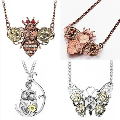 Lady Pendant Vintage Bee Butterfly Owl Heart-shape Gear Chain Clavicle Necklace