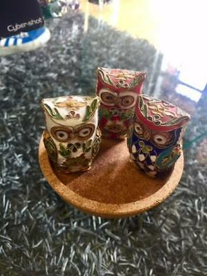 hand crafted owl collection, set of 3