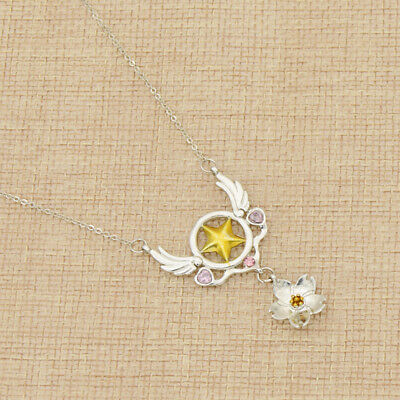 Anime Cardcaptor Sakura Star Wings Necklace Silver Chain Cosplay Women Gift