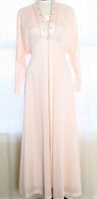 Vtg Edwardian Style Embroidered Floral Roses Peignoir Set Robe Gown Pink Batwing