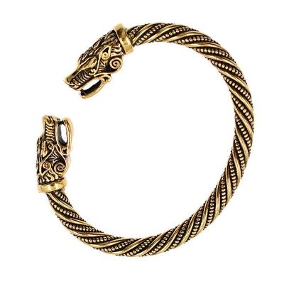 Viking Gold FENRIR Wolf Norse SACRED ARM RING Steel Bracelet Ragnar Lothbrok NEW