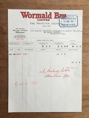 1931 Vintage Wormald Bros. Ltd Fire Protection Engineers Melbourne Receipt P12