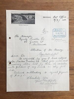 1930 Vintage Heyfield Victoria Post Office Correspondence Letter Invoice P14