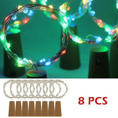 8X 20 LED Copper Wire Cork Wine Bottle Starry Fairy Light for Wedding Xmas Party