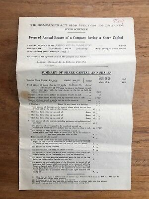 1959 Annual Return For Oxford Metals Proprietary Williamstown Document P50