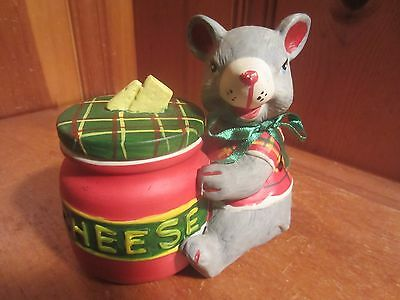Vintage 1992 Ceramic Christmas Mouse with Cheese Trinket Jar, Candle Holder EUC