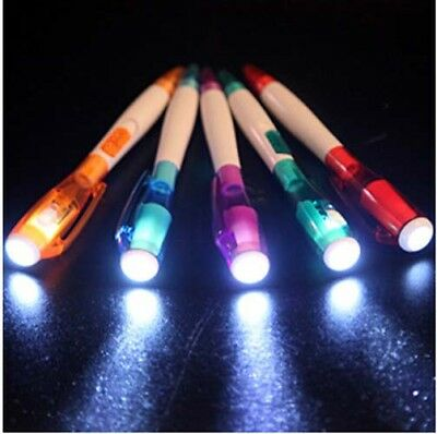 2in1 Ballpoint Plastic Pen with Flashlight LED Torch Glow for Safety in Darkness