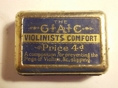 Old Small Violinists Comfort 4d. Tin with Content. VG