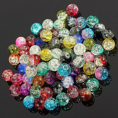 New Mixed Crystal Crack Glass Round Loose Spacer Beads for DIY Charm Jewelry