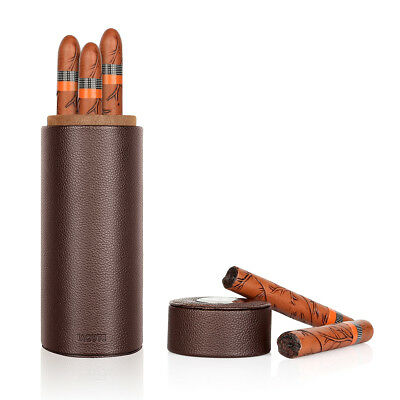 Cedar Wood Lined Portable Leather Cigar Humidor Tube with Humidifier Hygrometer