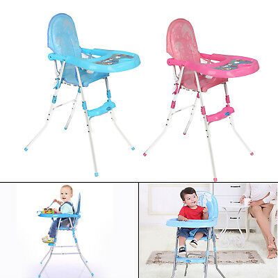 Non-Slip Baby Feeding High Chair Seat Foldable Children Infant Boy Blue Pink