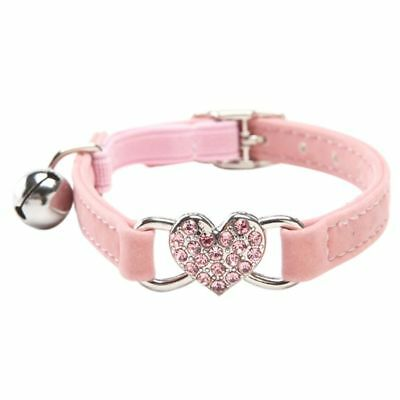 Heart charm and bell cat collar safety elastic adjustable with soft velvet  I3S8