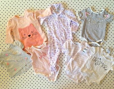 8 x Baby Girls Size 0000 Newborn Bonds SEED Cotton On Rompers Cats Designer