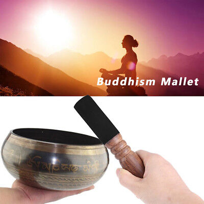 UK 6.8inch Tibetan Buddhism Singing Bowl Wood Mallet Striker Stick Leather Head