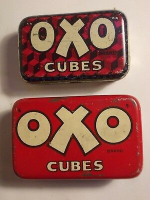 2 Old  OXO Beef Cube Small Tins. G/VG