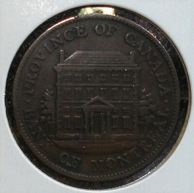 """1844 Bank of Montreal Half-Penny from Canada, """"Big Trees - Short Nose"""" Variety"""