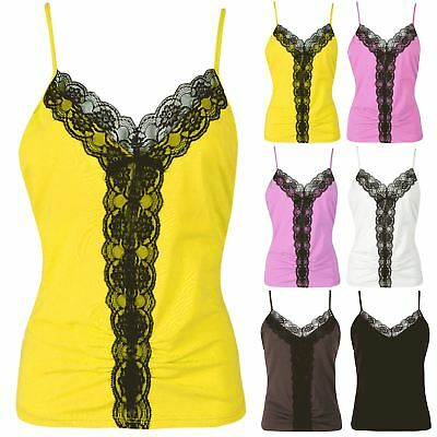 Women Ladies Floral Lace Mesh V Neck Ruched Camisole Strappy Sleeveless Vest Top