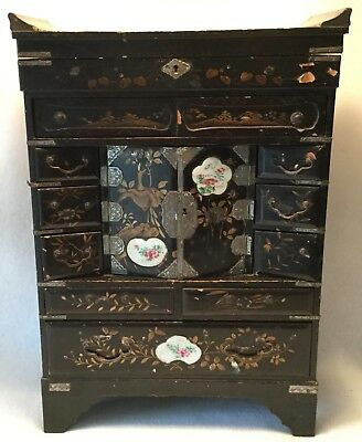 Large 19th c. Chinese Lacquered & Hand Painted Footed Jewelry Chest or Cabinet