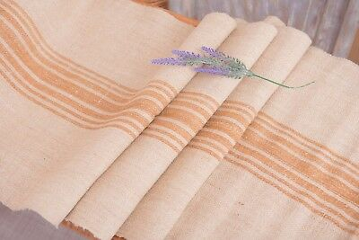Caramel stripes grain sack Fabric Antique linen Grain Sack from Europe pillow