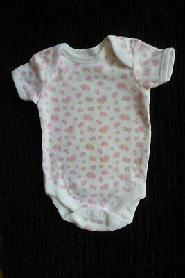 Baby clothes GIRL newborn 0-1m NEW! white/pink roses short sl. bodysuit SEE SHOP