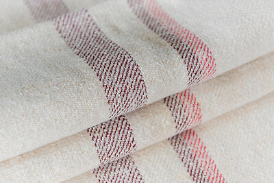 Faded Purple Red stripes pillow bench cushion Grain Sack Fabric Antique linen