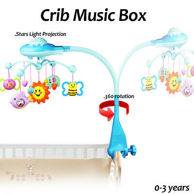 Baby Bed Mobile Musical Cot Crib Rotary Music Box Stars Light Projection Toy