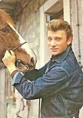 Carte postale ancienne JOHNNY HALLYDAY & cheval  RARE