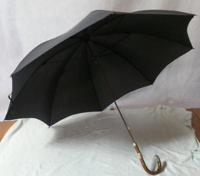 Antique Paragon Fox Umbrella With Silver Collars And End, Hallmarked London 1913