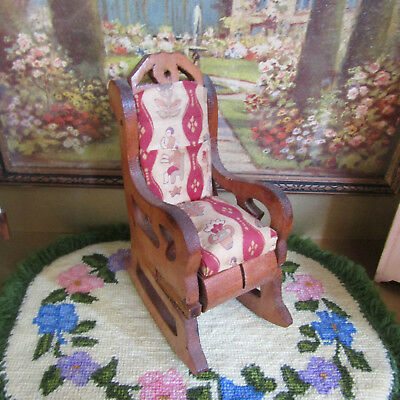 Antique 30s 40s Dollhouse ROCKING CHAIR Vtg Furniture Wood Rocker 1930s 1940s