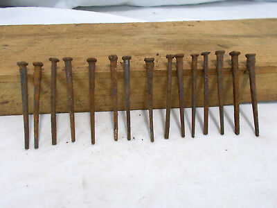 """QTY 15 ~ 3"""" SQUARE NAILS vintage 1890s antique rust patina ARCHITECTURAL SALVAGE"""