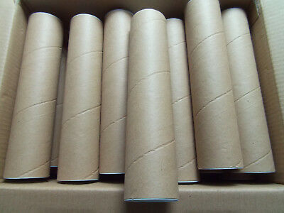"""A4 CARDBOARD TUBES LOT OF 20 240mm 9.5"""" 2"""" DIAMETER  WITH CAPS   SMALL STRONG"""