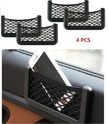 4X Car Multifunctional Storage Tuck Net String Bag Phone Holder Ticket Pocket