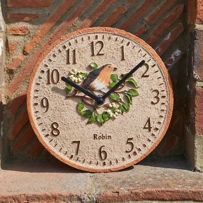 "Robin Design Wall Clock ( 8"" ) Ideal For indoors And Garden Outside In Designs"