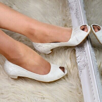 3a398ab6ec4c Ladies Bridal Evening Block Heel Ivory Floral Lace Peep Toe Shoes Size 3-8  New