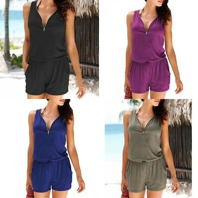 UK Plus Size Womens Zip Neck Pocket Playsuit Ladies Summer Shorts Jumpsuit 6-24