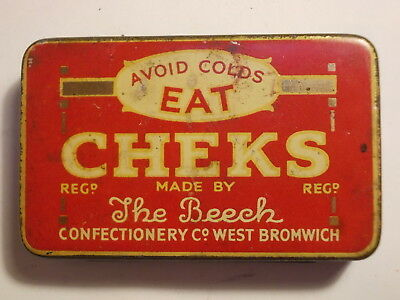Old Chemist CHEKS Cough Sweets Tin. G/VG