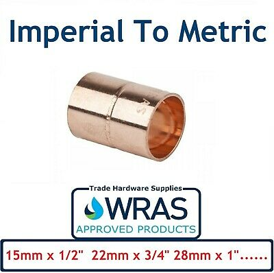 End Feed Metric to Imperial Adapter Coupler Copper Fitting