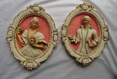 Vtg Chalkware Victorian Couple Plaques Shabby Pink Background