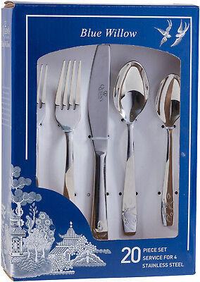 Churchill / Queen's Blue Willow 20 Piece Stainless Steel Cutlery Set - New/boxed