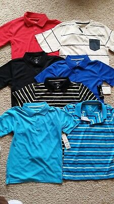 Pick 2! NEW Boys Size L LARGE 10-12 Polo Red & Henley Shirt TAN with blue stripe