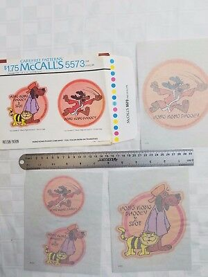 NOS Vtg 1976 McCall's FOUR Iron On Transfer Patterns 5573 HONG KONG PHOOEY