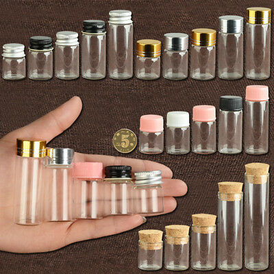 Cute Glass Vial Jars Transparent Bung Test Tube Bottle Crafts With Lid 5~22ml